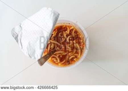 Instant Noodles In Cup. Noodles In Hot Water Ready To Eat.