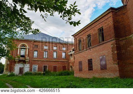 An Old Brick Mansion With Closed Windows. The Village Of Polybino, Dankovsky District, Lipetsk Regio