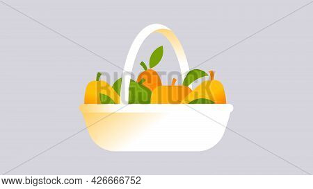 Yellow Pears And Apples In Wicker Basket. Minimal Style Seasonal Fruits. Grannys Garden Concept. Abs