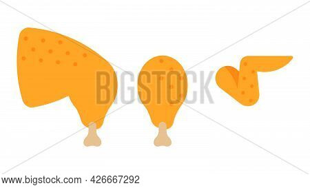Raw Chicken Cuts: Drumstick, Wing, Chicken Leg. Close Up Meat On White Background. Modern Vector Ill