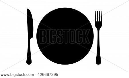 Fork, Knife, Plate. Dinner Service Icon. Tableware Set, Silhouettes, Flat Style. Plate, Fork And Kni