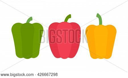 Paprika. Minimal Style Set Of Bell Pepper. Minimalistic Green, Red, Yellow Pepper, Side View. Abstra