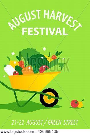 Harvest Festival. Vector Illustration For Farmer Market, Seasonal Farmer Fair. Garden Wheelbarrow Wi