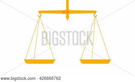 Gold Scales Balance. Justice Scales, Symbol Of Fair Trial. Vintage Measurement Tool. Empty Golden Bo