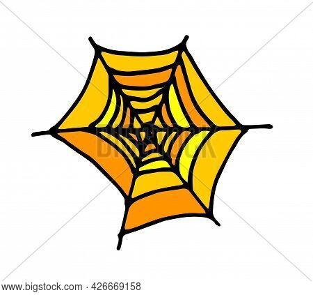 Vector Texture Of An Orange Spider Web With A Black Outline. Hand-drawn Spider Web Pattern In The St