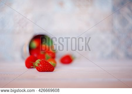 Ripe Juicy Strawberries. Summer Red Strawberries In A Small Bucket On A White Wooden Table. Strawber