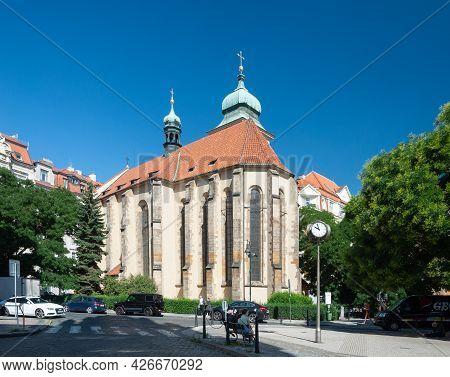 Prague, Czech Republic - July 23, 2019: Church Of The Holy Spirit. Roman Catholic, Built About 1350.