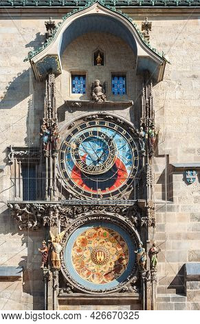 Astronomical Clocks Of Town Hall Tower On Old Town Square In Prague, Czech Republic