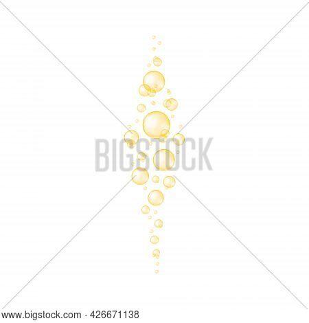 Golden Oxygen Bubbles Texture. Glossy Balls Of Collagen, Serum, Jojoba Cosmetic Oil, Vitamin A Or E,
