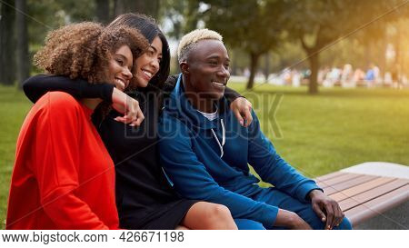 Multi-ethnic Group Teenage Friends. African-american Asian Student Spending Time Together Multiracia