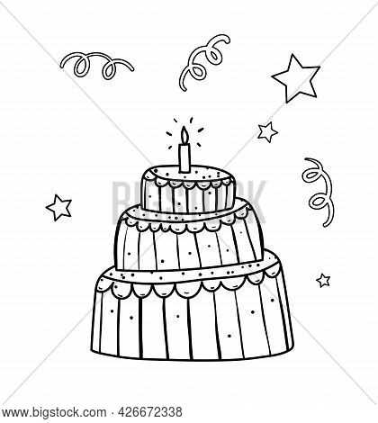Cute Hand Drawn Outline Cake For Kids Coloring Book. Birthday Cake Doodle Outline Cartoon For Colori