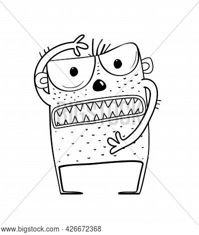 Funny Angry And Scary Alien Monster With Teeth For Kids. Imaginary Creature For Children Coloring Bo