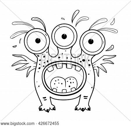 Funny And Cute Alien Monster With Three Eyes For Kids. Imaginary Creature For Children Coloring Book