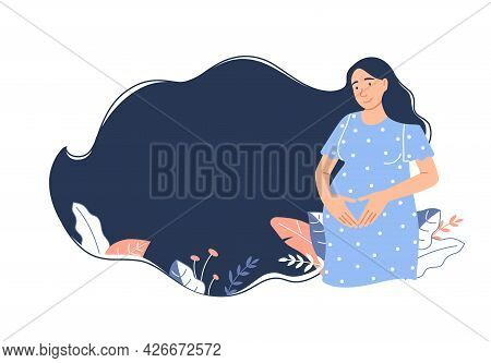 Beautiful Happy Pregnant Girl Expecting Newborn Baby Birth. Pregnancy Banner, Background Design With