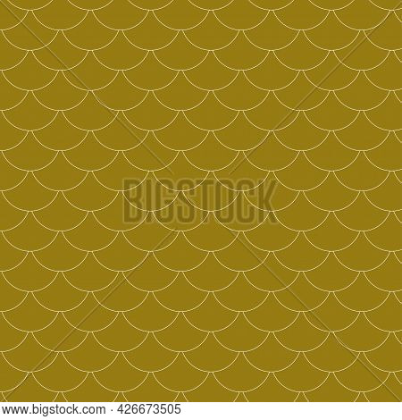Seamless Pattern. Fish Scale Pattern Inverted, Single Layer, Golden Brown. Illustration Abstract Bac