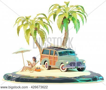 Retro vintage surfer car and woman on the beach. Old woody car with surfboard. Young woman in bikini, deckchair, sandy beach and palm trees. Holidays on sea or ocean beach. 3d illustration