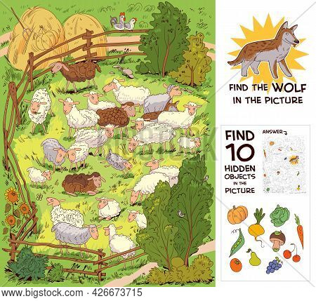 Flock Of Sheep In Corral. Find The Wolf Among The Sheep. Find 10 Hidden Objects In The Picture. Puzz