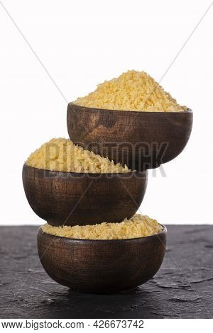 Japanese Panko Bread In Crumbs In Three Wooden Bowls