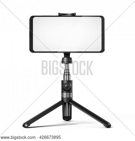 Selfie stick tripod and smartphone with blank white screen isolated on white. 3d rendering