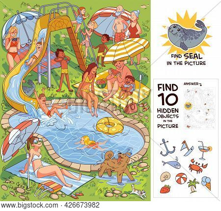 People Relaxing In The Courtyard By The Pool With Water Attractions. Find 10 Hidden Objects In The P