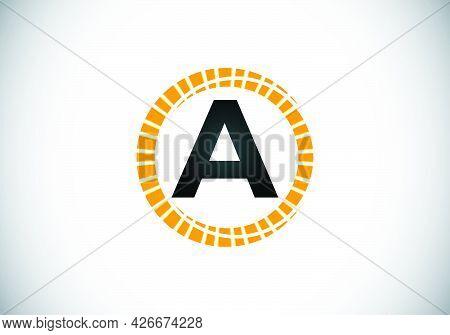 Initial A Monogram Letter Alphabet In An Abstract Sunburst Circle. Font Emblem. Sunburst Icon Sign S