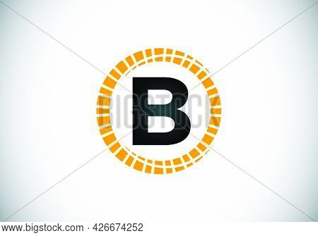 Initial B Monogram Letter Alphabet In An Abstract Sunburst Circle. Font Emblem. Sunburst Icon Sign S