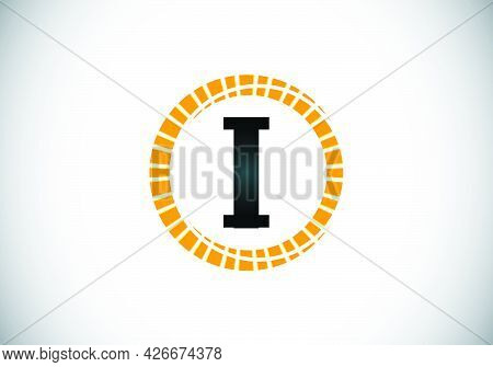 Initial I Monogram Letter Alphabet In An Abstract Sunburst Circle. Font Emblem. Sunburst Icon Sign S
