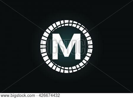 Initial M Monogram Letter Alphabet In An Abstract Sunburst Circle. Font Emblem. Sunburst Icon Sign S