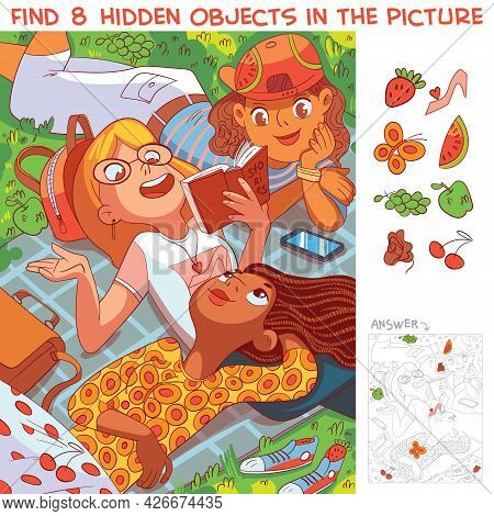 Girls Lying On The Grass In The Park. Find 8 Hidden Objects In The Picture. Puzzle Hidden Items. Fun
