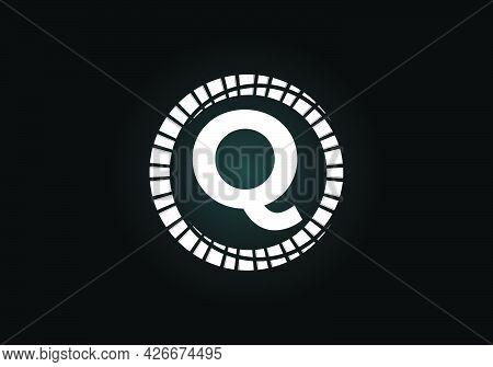Initial Q Monogram Letter Alphabet In An Abstract Sunburst Circle. Font Emblem. Sunburst Icon Sign S