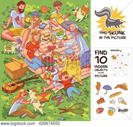 Family At Picnic. Find 10 Hidden Objects In The Picture. Find Skunk. Puzzle Hidden Items. Funny Cart