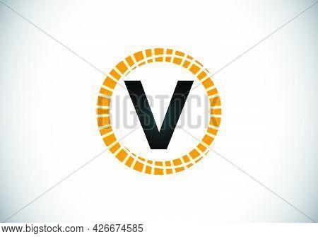Initial V Monogram Letter Alphabet In An Abstract Sunburst Circle. Font Emblem. Sunburst Icon Sign S