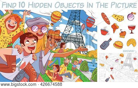 Friends In Paris Against The Background Of The Eiffel Tower. Find 10 Hidden Objects In The Picture.