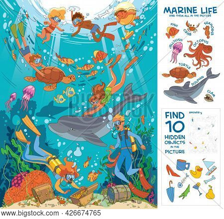 Diving And Snorkeling. Underwater Life. Find All Marine Animals In The Picture. Find 10 Hidden Objec