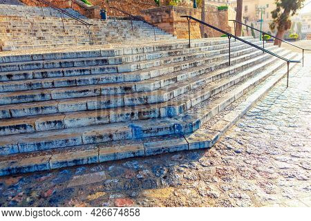 Stairs Of Catedral De Mallorca . Exterior Stone Staircase Of Cathedral