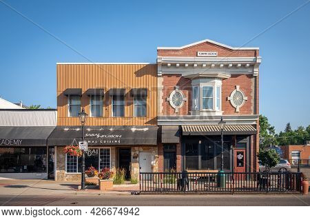 Medicine Hat, Alberta - July 11, 2021: Storefronts In The Historic Downtown Of Medicine Hat, Alberta