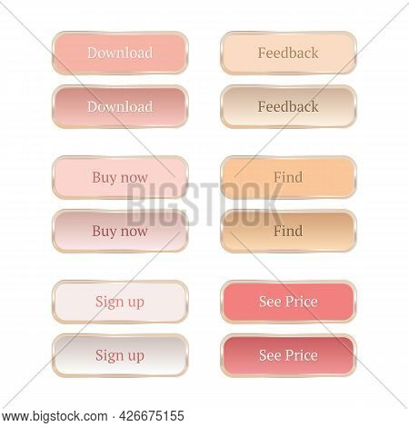 Set Of Vector Modern Horizontal Web Buttons For Beauty And Fashion Websites. Creamy Pastel Colors, V