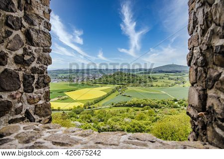 View On Castle Ruin Vetzberg From The Medieval Castle Ruin Gleiberg In Summertime With Beautiful Pop