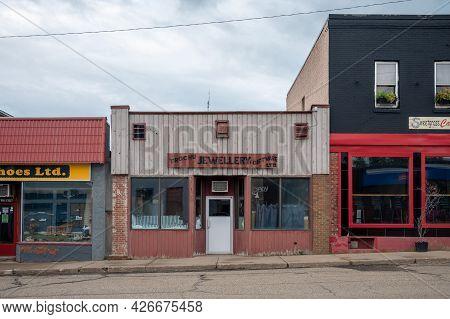 Trochu, Alberta - Juky 4, 2021: Small Town Storefronts In Trochu, Alberta