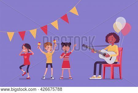 Kindergarten Music Party, Black Female Teacher Playing Guitar. Preschool Singing Classroom, Birthday