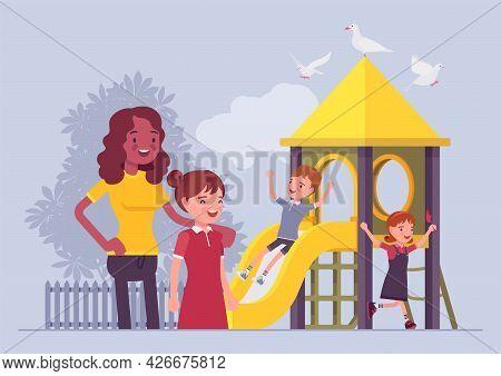 Kindergarten Playground, Teacher And A Child Girl. Children Playpark, Daycare Recreation With Enjoym