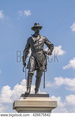 Gettysburg, Pa, Usa - June 14, 2008: Battlefield Monuments. Closeup Of Brigadier-general Alexander S