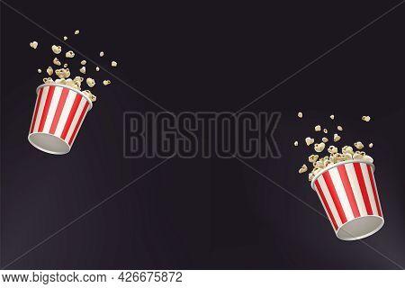 Popcorn Splash Movie Round Bucket Cup. Realistic Vector Banner Cinema Pop Corn Paper Bowl Red White