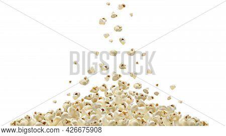 Popcorn Making Machine. Realistic Vector Popcorn Falling Down. A Lot Of Popcorn. Graphic Illustratio