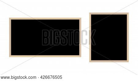 Black Chalkboards With Wooden Frame. Blackboard Menu Background. Isolated Vector Illustration.