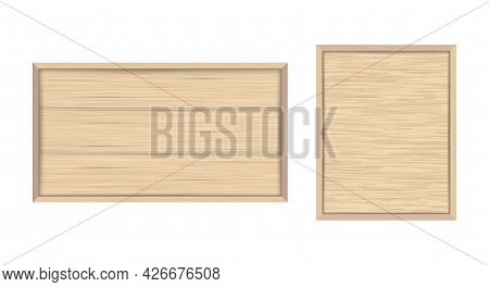 Wooden Frame With Plywood Backdrop. Wooden Planks Built In A Framed Board. Empty Text Box Or Quote F