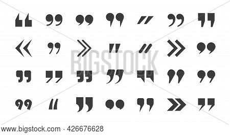 Quotes Marks Collection. Speech Punctuation Commas. Remark Buttons. Isolated Vector Illustration.