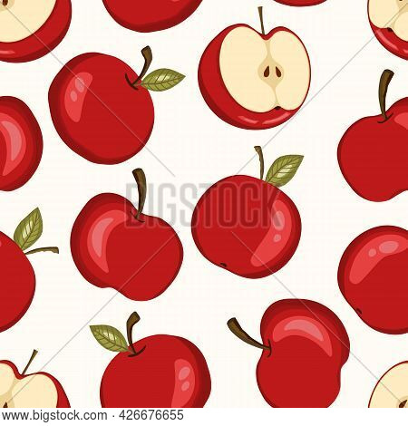 Seamless Pattern With Apple On White Background. Natural Delicious Ripe Tasty Fruit. Vector Illustra