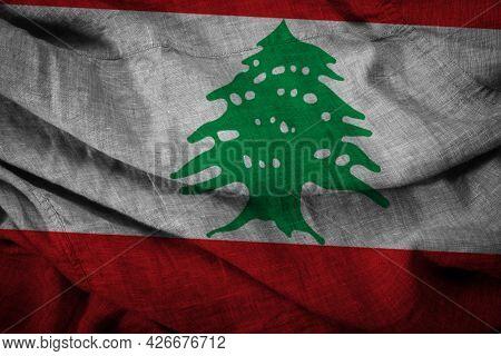 The State Flag Of Coarse Fabric Lebanon