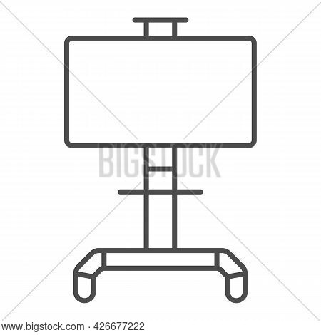 Lcd Tv With Stand Thin Line Icon, Monitors And Tv Concept, Lsd Tv On Swivel Stand Vector Sign On Whi